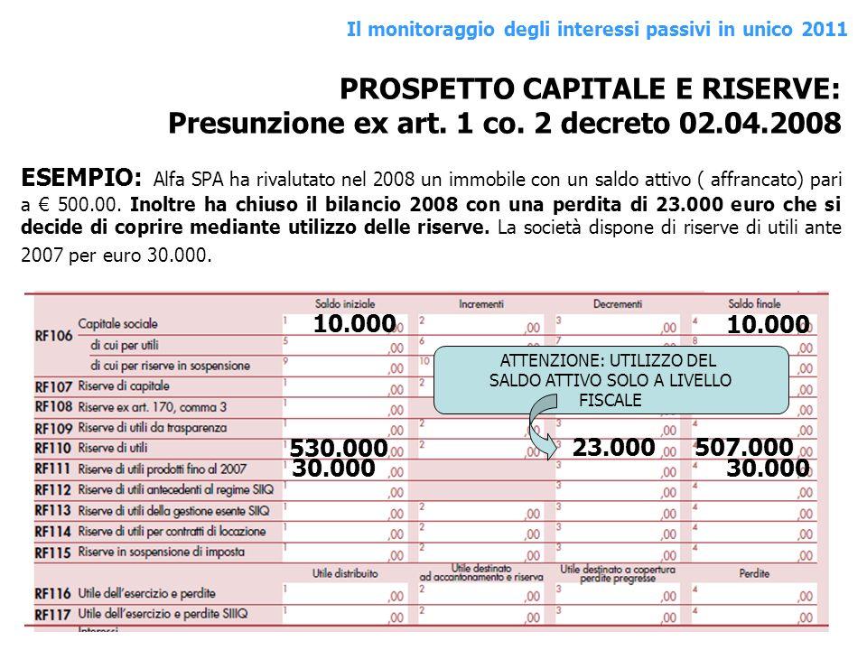 PROSPETTO CAPITALE E RISERVE: Presunzione ex art. 1 co. 2 decreto 02.04.2008 ESEMPIO: Alfa SPA ha rivalutato nel 2008 un immobile con un saldo attivo
