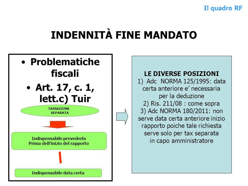 INDENNITÀ FINE MANDATO Problematiche fiscali Art. 17, c. 1, lett.c) Tuir TASSAZIONE SEPARATA Indispensabile prevederla Prima dellinizio del rapporto I