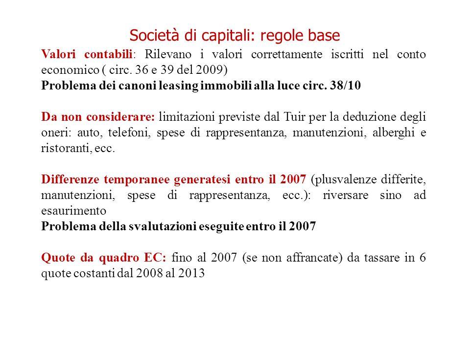 Società di capitali: regole base Valori contabili: Rilevano i valori correttamente iscritti nel conto economico ( circ. 36 e 39 del 2009) Problema dei