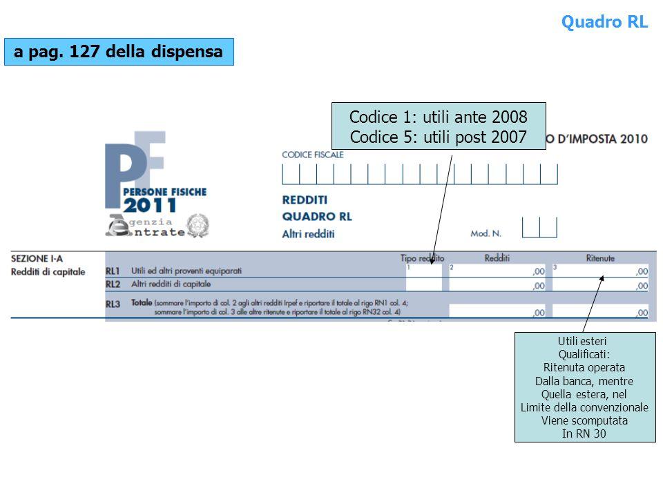 Quadro RL a pag. 127 della dispensa Codice 1: utili ante 2008 Codice 5: utili post 2007 Utili esteri Qualificati: Ritenuta operata Dalla banca, mentre