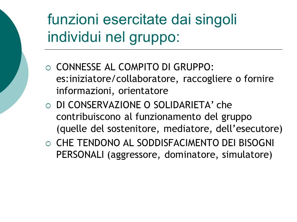 funzioni esercitate dai singoli individui nel gruppo: CONNESSE AL COMPITO DI GRUPPO: es:iniziatore/collaboratore, raccogliere o fornire informazioni,