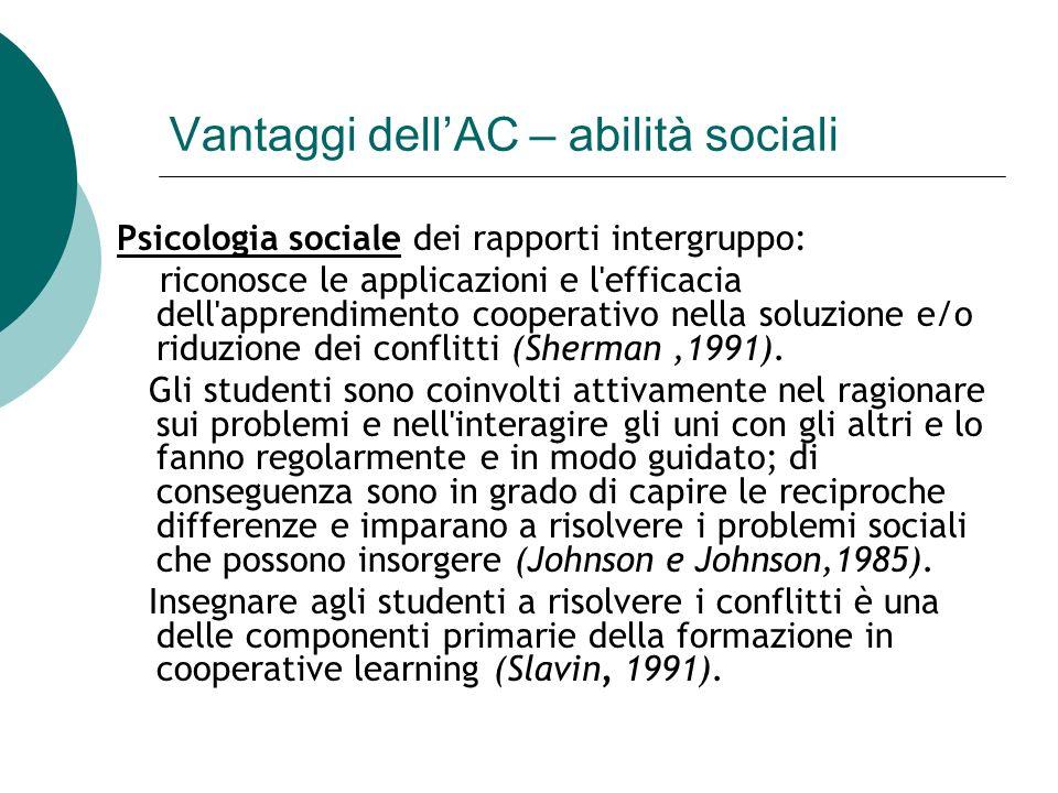 Vantaggi dellAC – abilità sociali Psicologia sociale dei rapporti intergruppo: riconosce le applicazioni e l'efficacia dell'apprendimento cooperativo