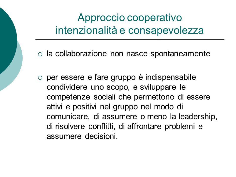 Approccio cooperativo intenzionalità e consapevolezza la collaborazione non nasce spontaneamente per essere e fare gruppo è indispensabile condividere