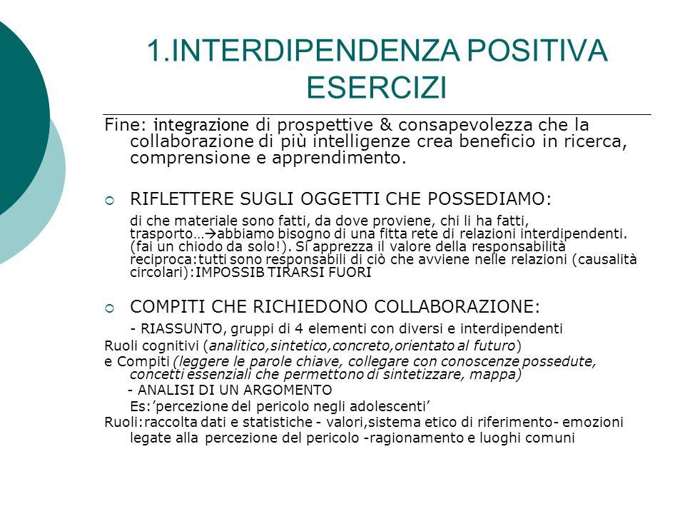 1.INTERDIPENDENZA POSITIVA ESERCIZI Fine: integrazione di prospettive & consapevolezza che la collaborazione di più intelligenze crea beneficio in ric