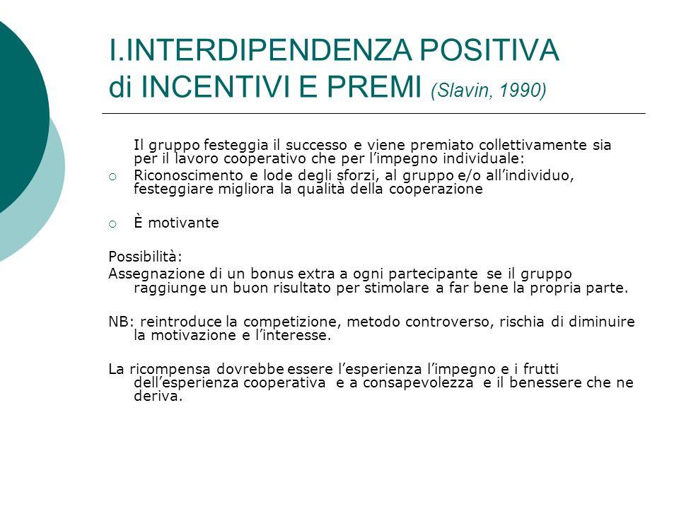 I.INTERDIPENDENZA POSITIVA di INCENTIVI E PREMI (Slavin, 1990) Il gruppo festeggia il successo e viene premiato collettivamente sia per il lavoro coop