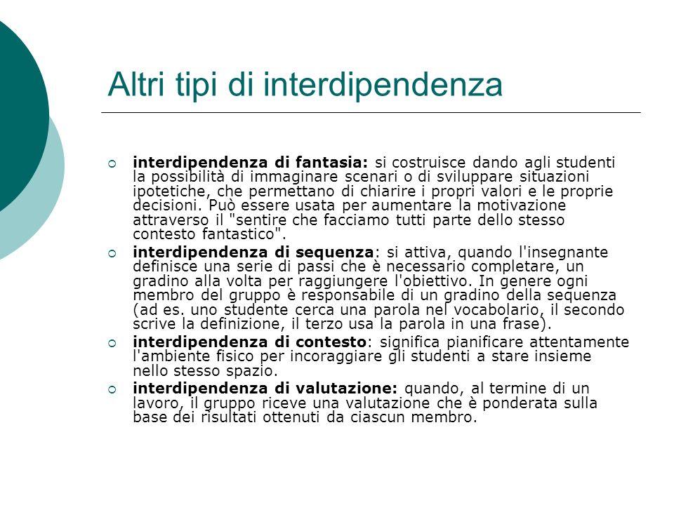 Altri tipi di interdipendenza interdipendenza di fantasia: si costruisce dando agli studenti la possibilità di immaginare scenari o di sviluppare situ
