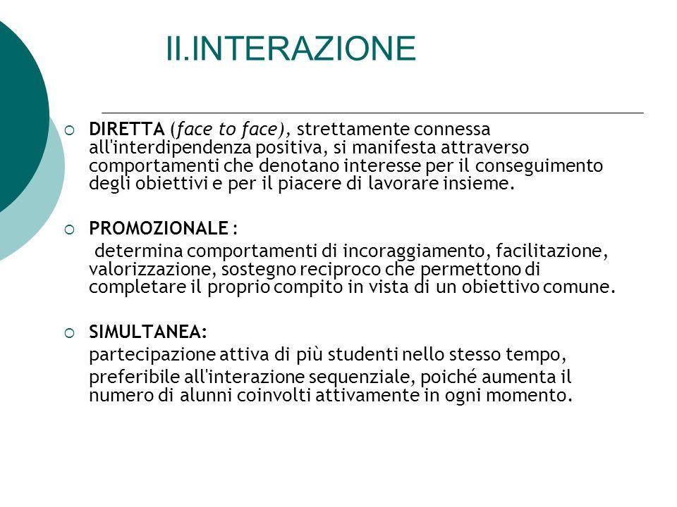 II.INTERAZIONE DIRETTA (face to face), strettamente connessa all'interdipendenza positiva, si manifesta attraverso comportamenti che denotano interess