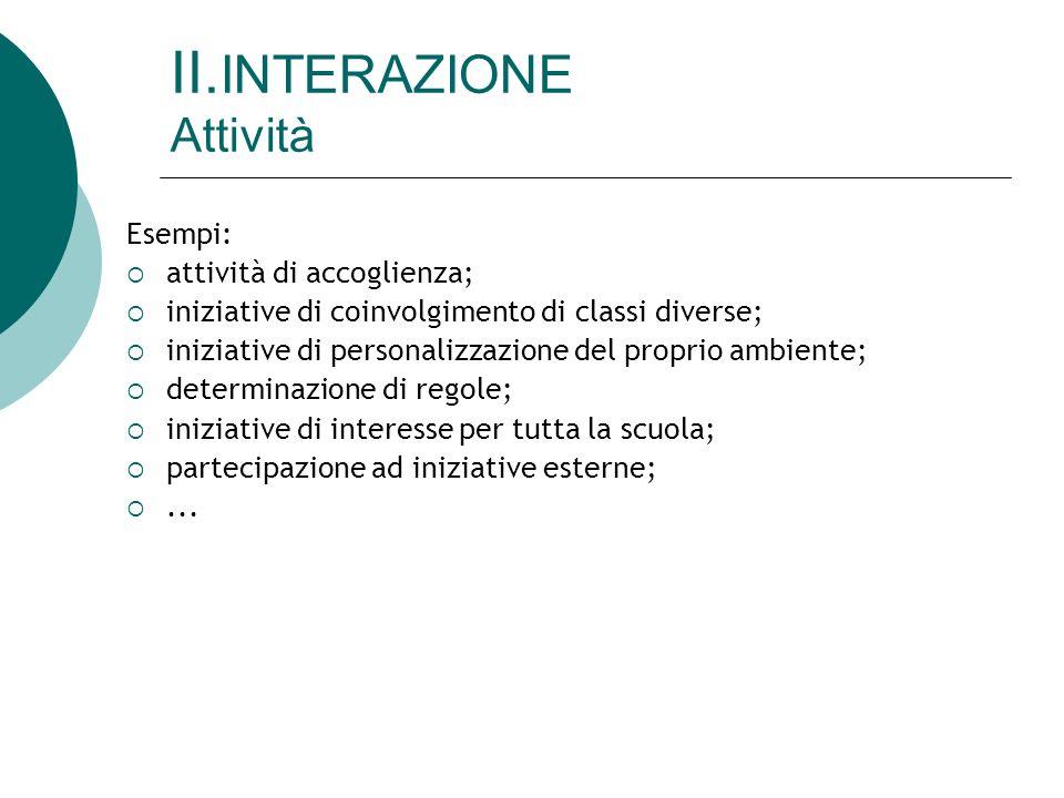 II. INTERAZIONE Attività Esempi: attività di accoglienza; iniziative di coinvolgimento di classi diverse; iniziative di personalizzazione del proprio