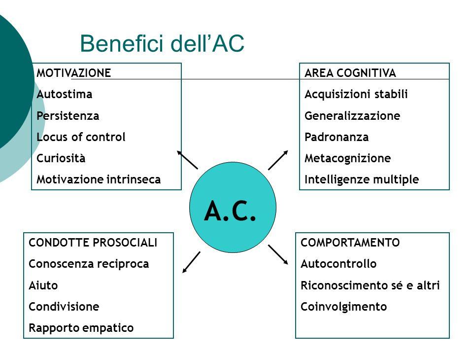Benefici dellAC A.C. MOTIVAZIONE Autostima Persistenza Locus of control Curiosità Motivazione intrinseca CONDOTTE PROSOCIALI Conoscenza reciproca Aiut