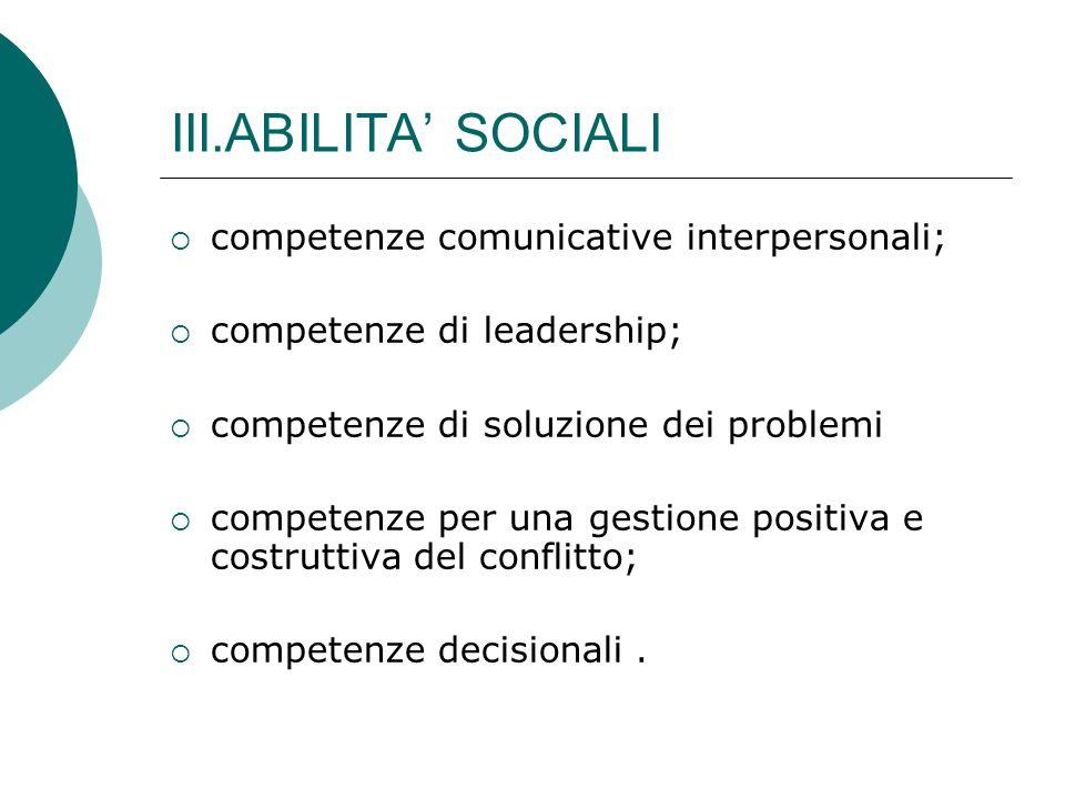 III.ABILITA SOCIALI competenze comunicative interpersonali; competenze di leadership; competenze di soluzione dei problemi competenze per una gestione