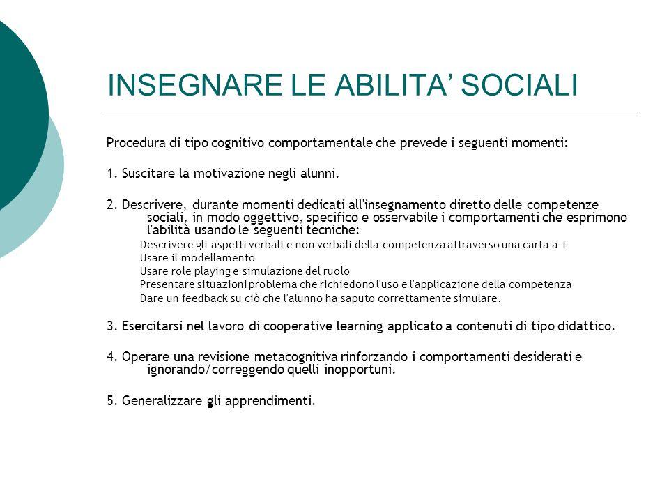 INSEGNARE LE ABILITA SOCIALI Procedura di tipo cognitivo comportamentale che prevede i seguenti momenti: 1. Suscitare la motivazione negli alunni. 2.