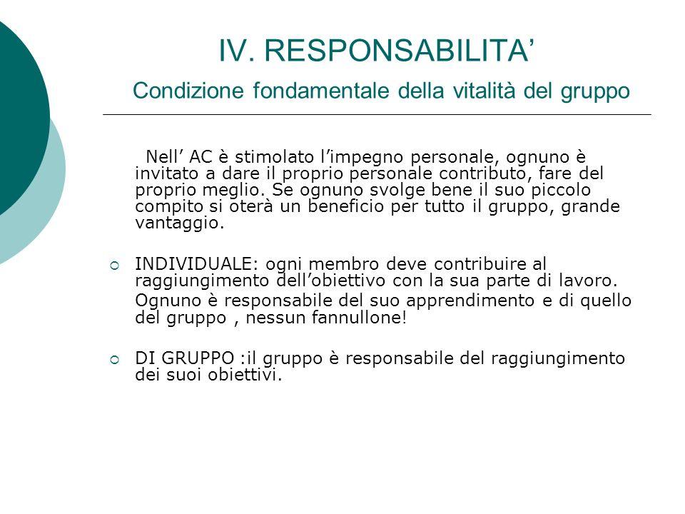 IV. RESPONSABILITA Condizione fondamentale della vitalità del gruppo Nell AC è stimolato limpegno personale, ognuno è invitato a dare il proprio perso