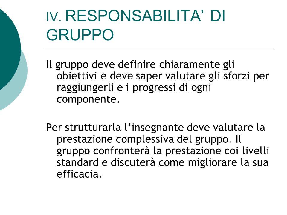 IV. RESPONSABILITA DI GRUPPO Il gruppo deve definire chiaramente gli obiettivi e deve saper valutare gli sforzi per raggiungerli e i progressi di ogni
