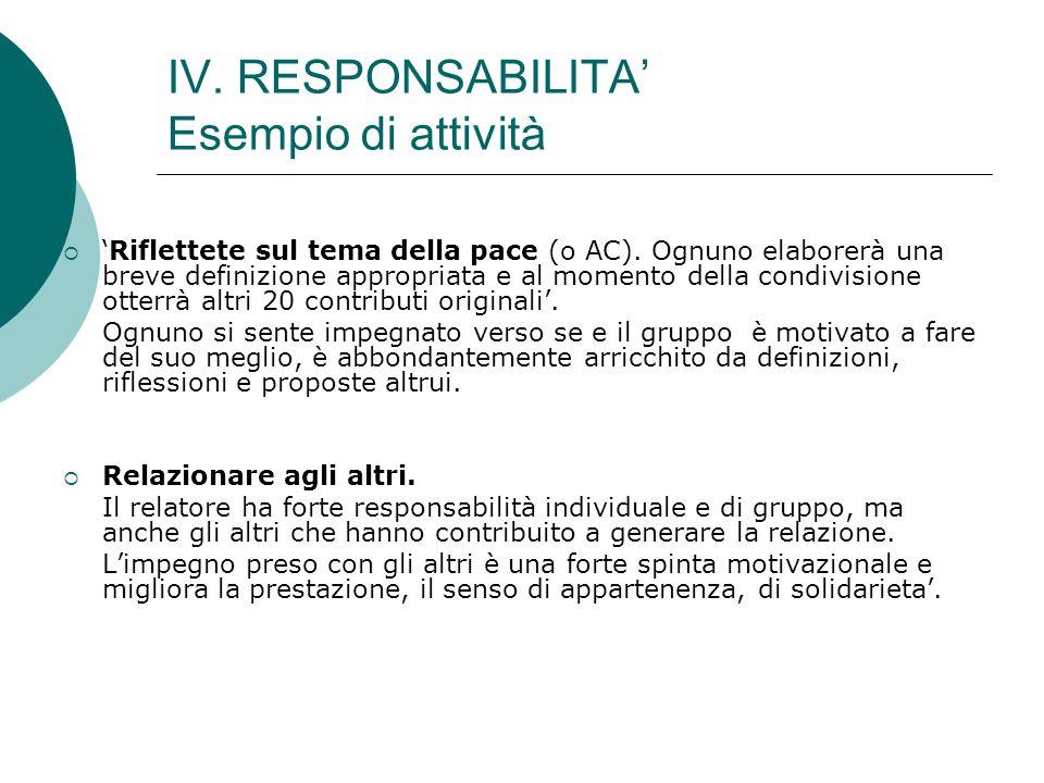 IV. RESPONSABILITA Esempio di attività Riflettete sul tema della pace (o AC). Ognuno elaborerà una breve definizione appropriata e al momento della co