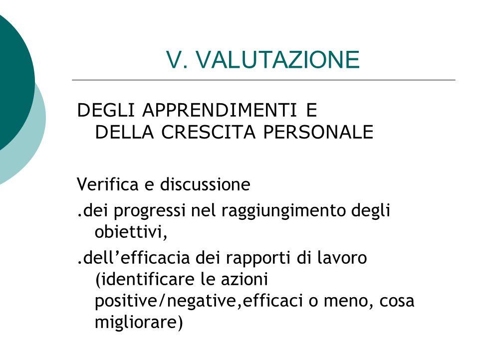 V. VALUTAZIONE DEGLI APPRENDIMENTI E DELLA CRESCITA PERSONALE Verifica e discussione.dei progressi nel raggiungimento degli obiettivi,.dellefficacia d