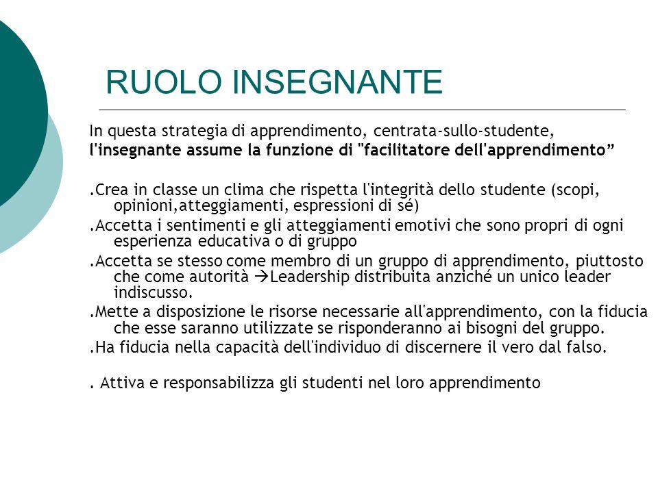 RUOLO INSEGNANTE In questa strategia di apprendimento, centrata-sullo-studente, l'insegnante assume la funzione di