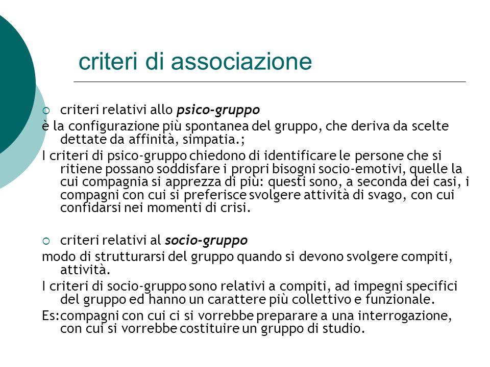 criteri di associazione criteri relativi allo psico-gruppo è la configurazione più spontanea del gruppo, che deriva da scelte dettate da affinità, sim