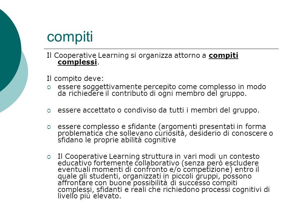 compiti Il Cooperative Learning si organizza attorno a compiti complessi. Il compito deve: essere soggettivamente percepito come complesso in modo da