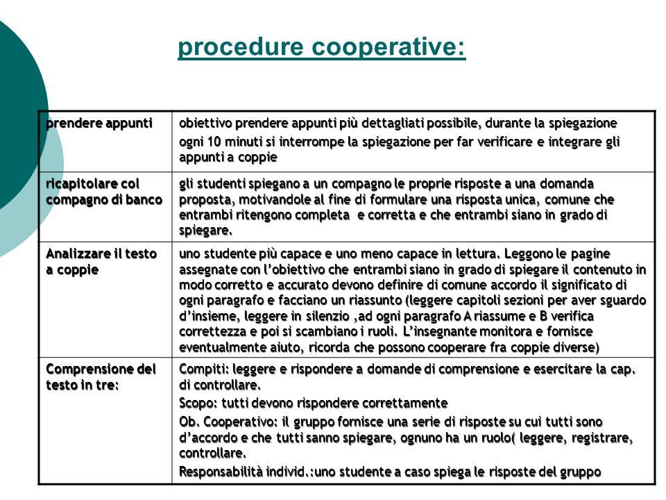 procedure cooperative: prendere appunti obiettivo prendere appunti più dettagliati possibile, durante la spiegazione ogni 10 minuti si interrompe la s