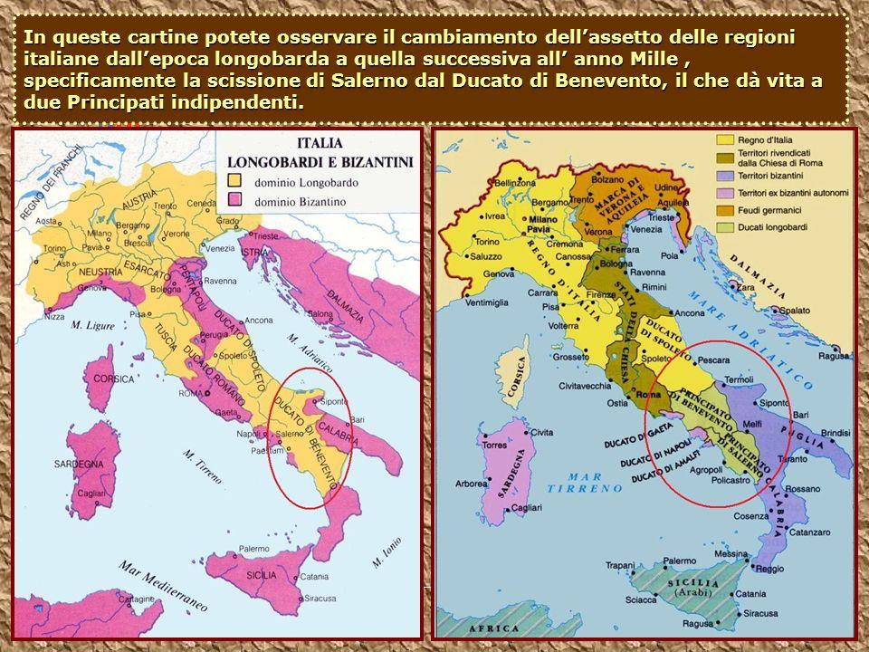 In queste cartine potete osservare il cambiamento dellassetto delle regioni italiane dallepoca longobarda a quella successiva all anno Mille, specific