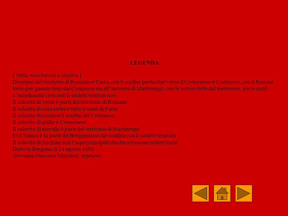 Scopo del disegno: Rappresentazione della zona ad est del Serio interessata dalle sue inondazioni Rappresentazione delle rotture delle rive Confini: Rappresentazione della parte settentrionale del Cremasco con segnalazione dei confini che vanno dalla Bettola, deviano di 90 gradi a sud prima di Sola, deviano dolcemente di nuovo verso est, passano per Frana, Fontanone e proseguono di nuovo verso sud a Caminetti, si allungano verso est tagliando la Strada che va a Crema nei pressi di Famosa e ridiscendono verso sud a Salizza.