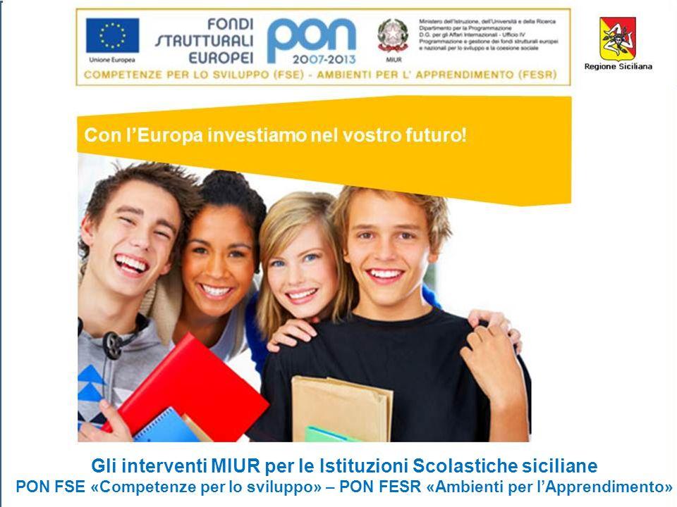 1 Gli interventi MIUR per le Istituzioni Scolastiche siciliane PON FSE «Competenze per lo sviluppo» – PON FESR «Ambienti per lApprendimento»