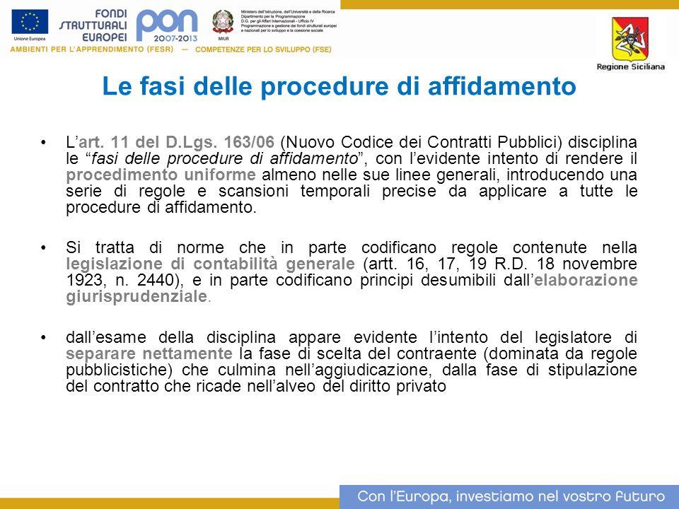Le fasi delle procedure di affidamento Lart.11 del D.Lgs.