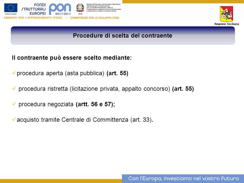 Il contraente può essere scelto mediante: procedura aperta (asta pubblica) (art.