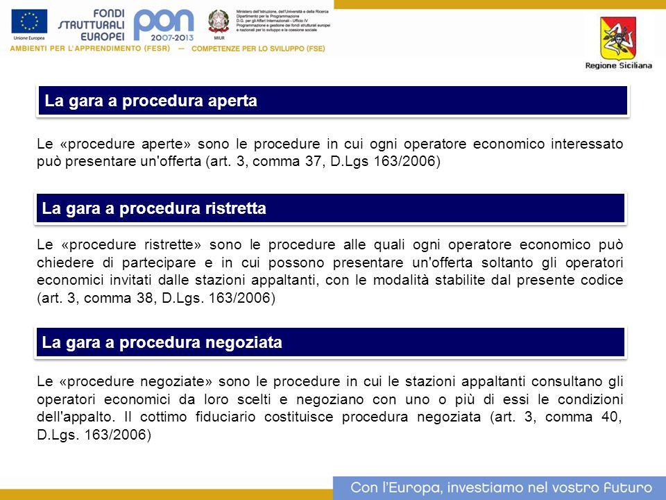 Le «procedure aperte» sono le procedure in cui ogni operatore economico interessato può presentare un offerta (art.