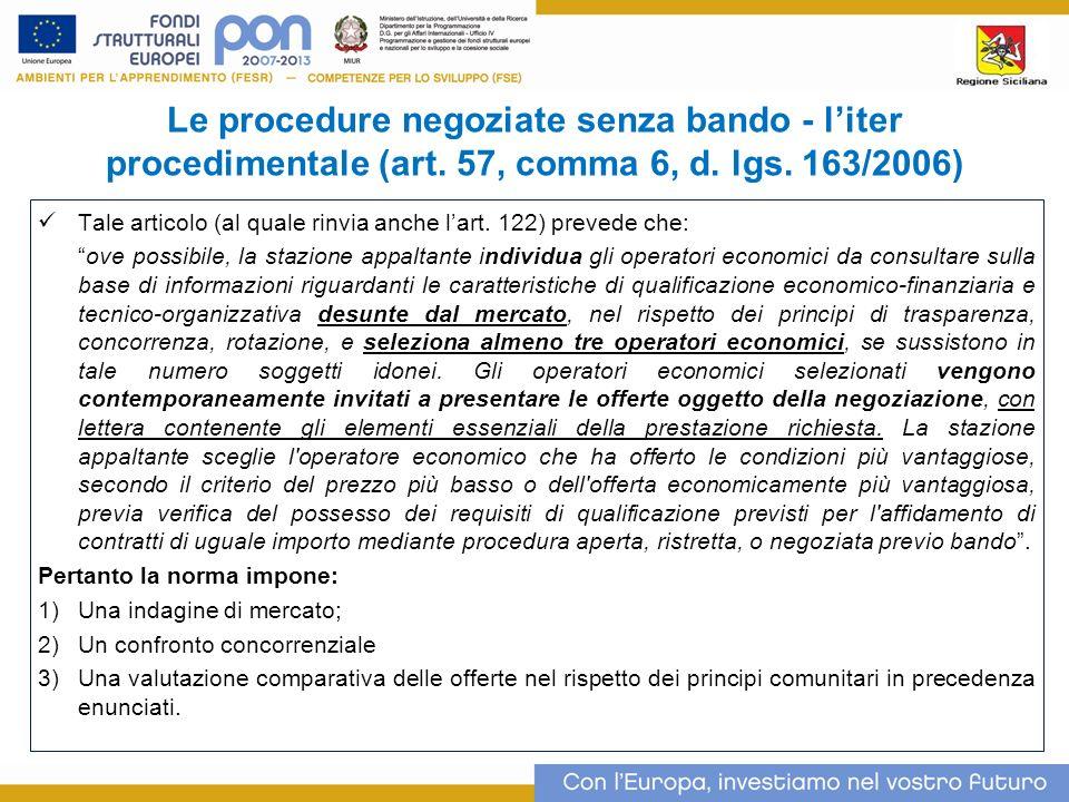Le procedure negoziate senza bando - liter procedimentale (art.