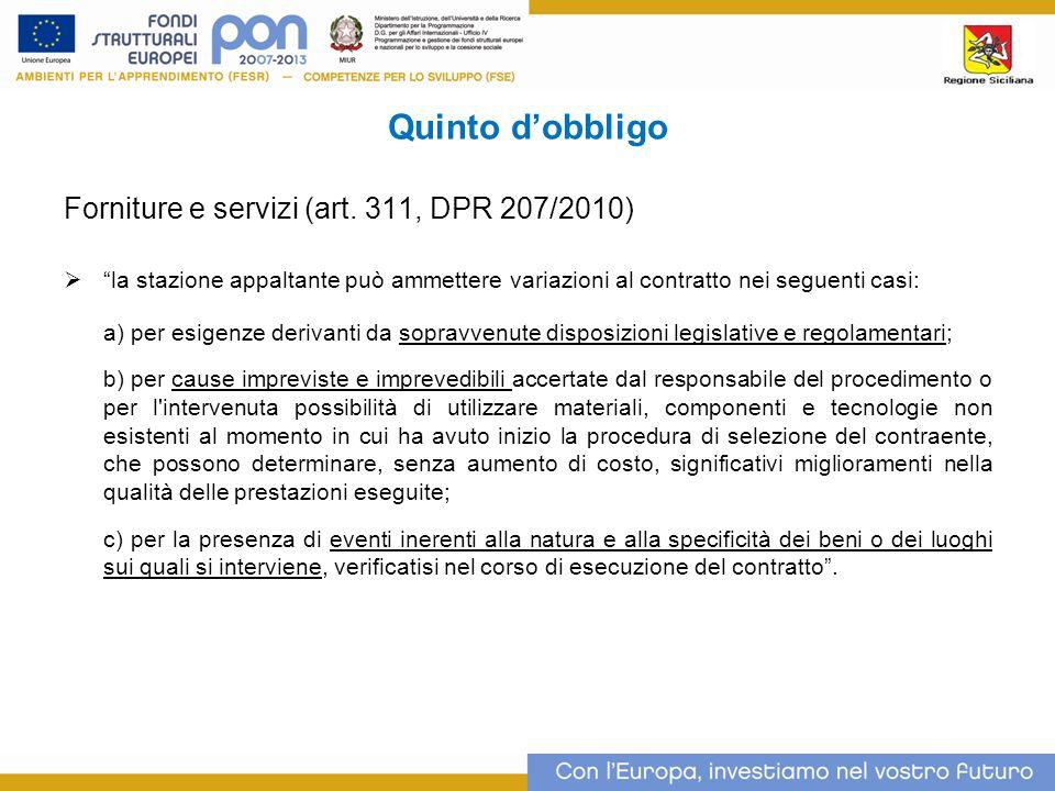 Quinto dobbligo Forniture e servizi (art.