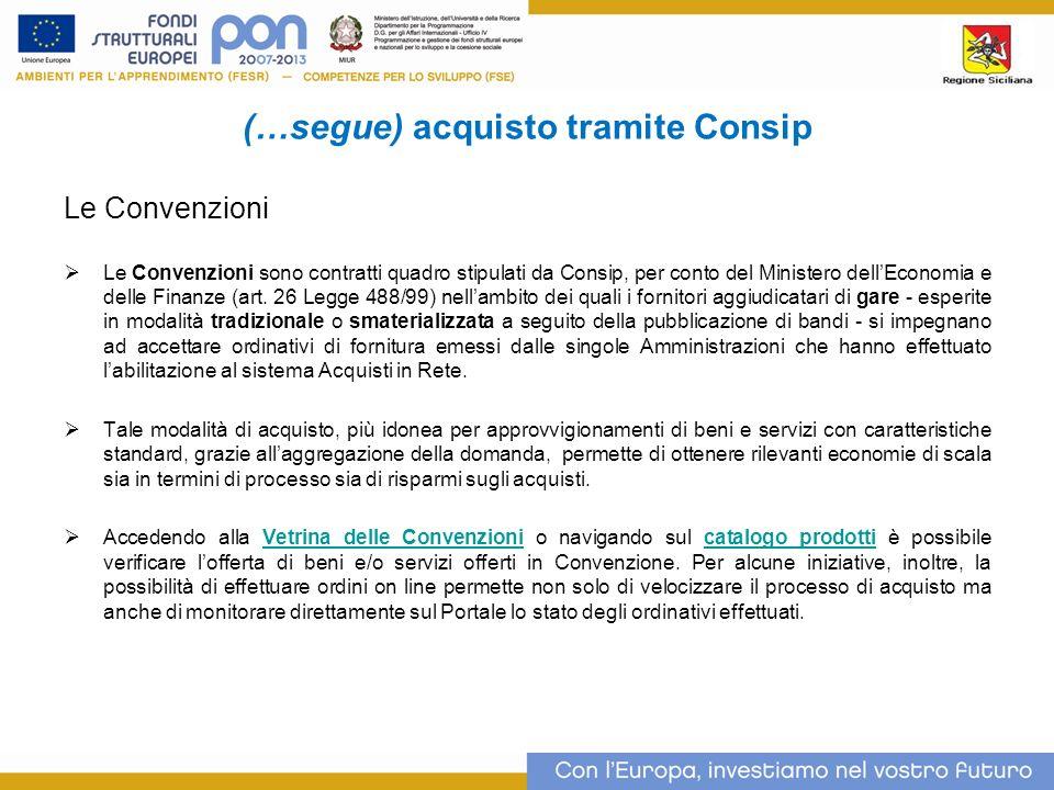 (…segue) acquisto tramite Consip Le Convenzioni Le Convenzioni sono contratti quadro stipulati da Consip, per conto del Ministero dellEconomia e delle Finanze (art.