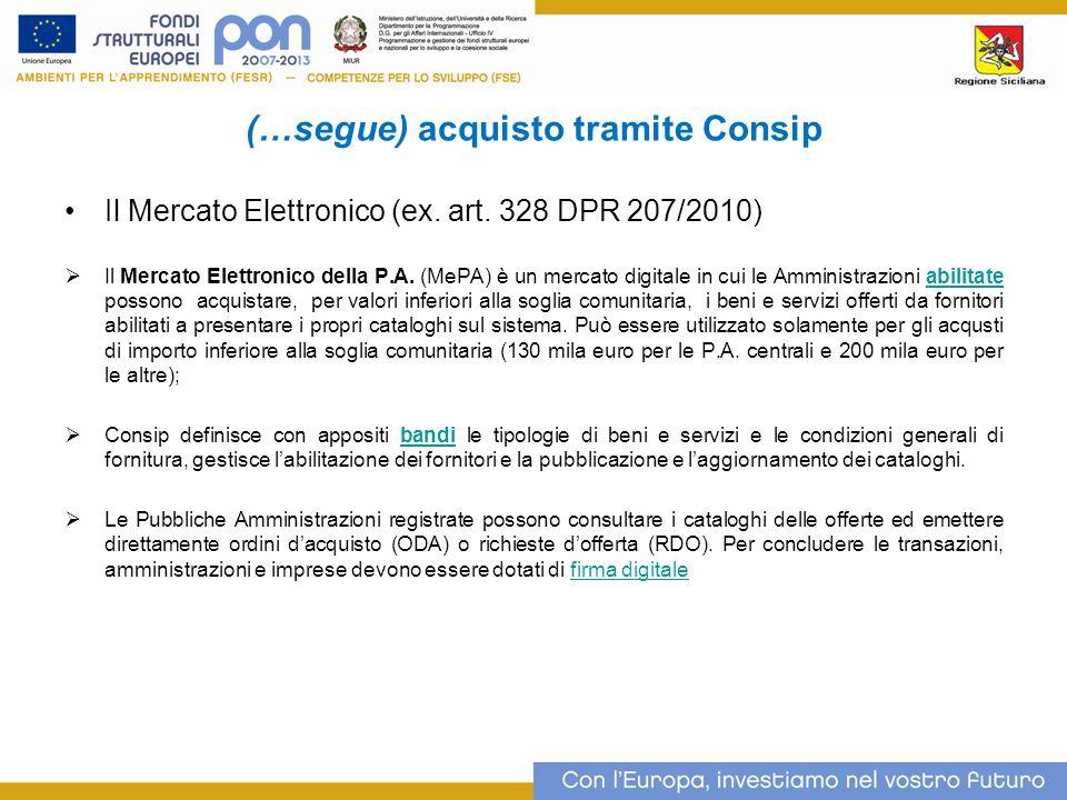 (…segue) acquisto tramite Consip Il Mercato Elettronico (ex.