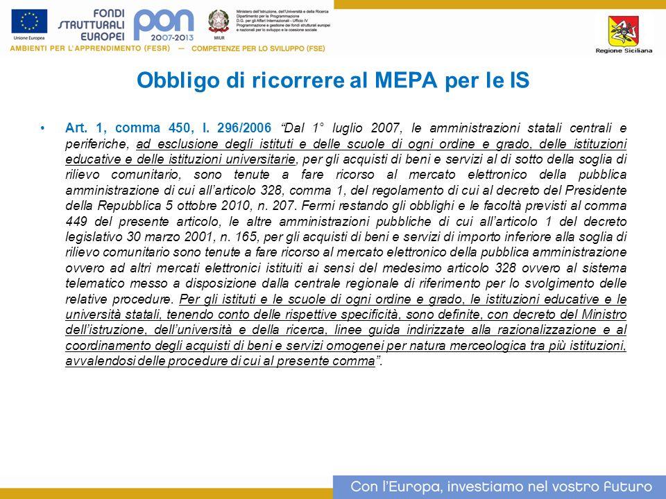 Obbligo di ricorrere al MEPA per le IS Art.1, comma 450, l.