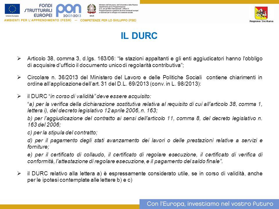 IL DURC Articolo 38, comma 3, d.lgs.