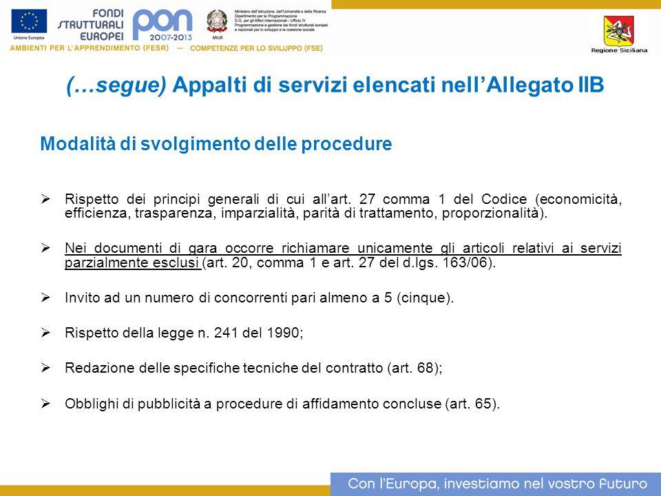 (…segue) Appalti di servizi elencati nellAllegato IIB Modalità di svolgimento delle procedure Rispetto dei principi generali di cui allart.