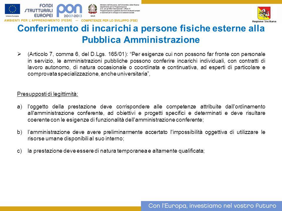 Conferimento di incarichi a persone fisiche esterne alla Pubblica Amministrazione (Articolo 7, comma 6, del D.Lgs.