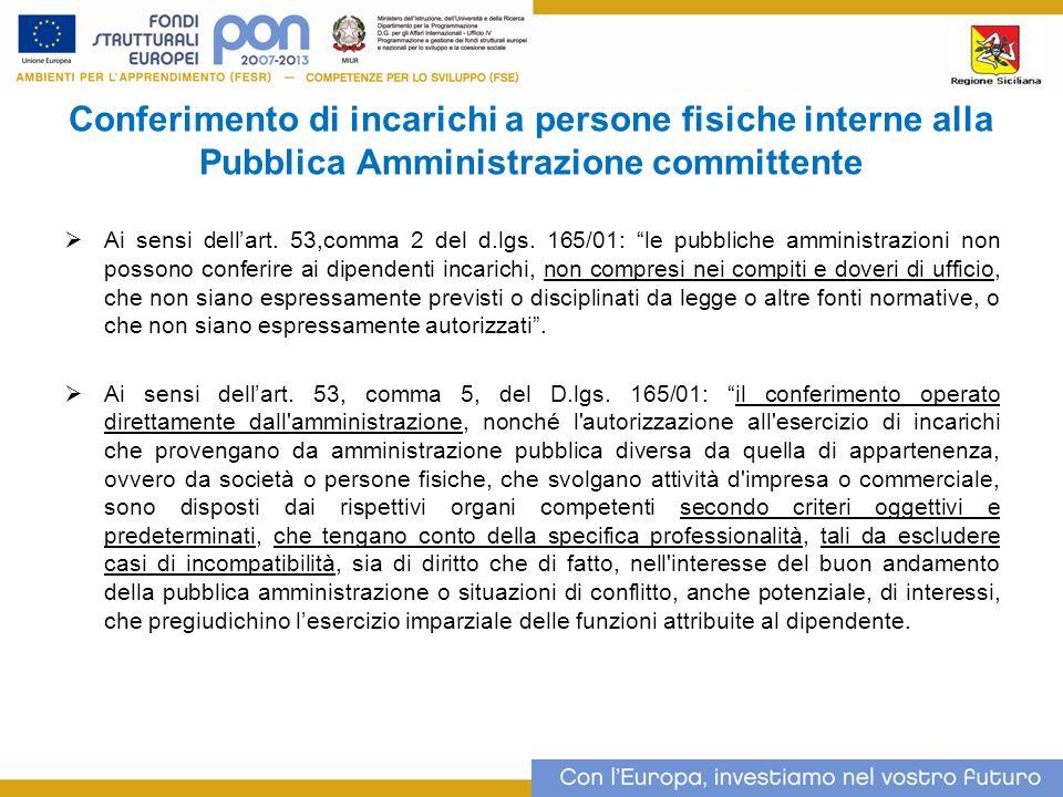 Conferimento di incarichi a persone fisiche interne alla Pubblica Amministrazione committente Ai sensi dellart.