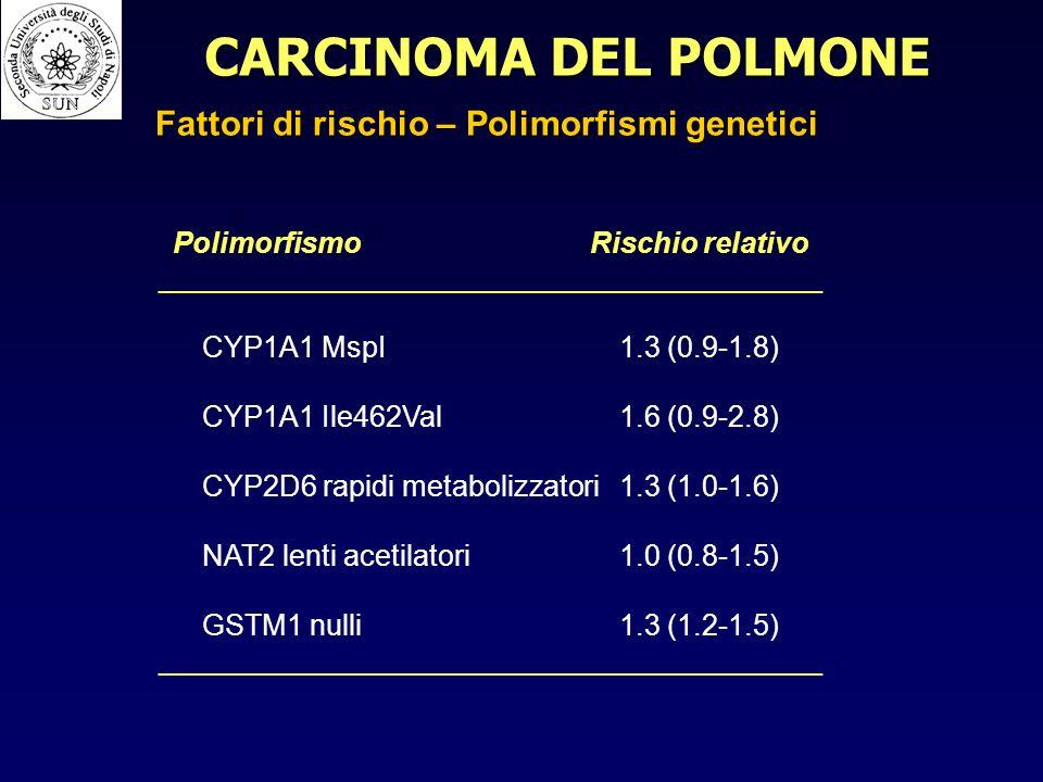 PolimorfismoRischio relativo _________________________________________ CYP1A1 MspI1.3 (0.9-1.8) CYP1A1 Ile462Val1.6 (0.9-2.8) CYP2D6 rapidi metabolizzatori1.3 (1.0-1.6) NAT2 lenti acetilatori1.0 (0.8-1.5) GSTM1 nulli1.3 (1.2-1.5) _________________________________________ CARCINOMA DEL POLMONE Fattori di rischio – Polimorfismi genetici