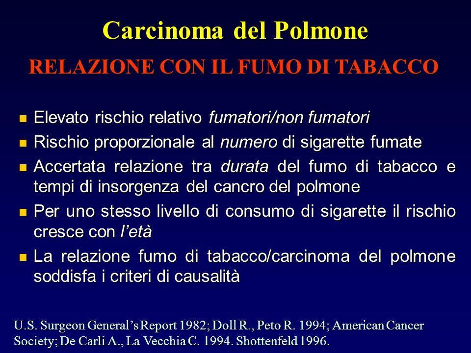 Carcinoma del Polmone Elevato rischio relativo fumatori/non fumatori Elevato rischio relativo fumatori/non fumatori Rischio proporzionale al numero di sigarette fumate Rischio proporzionale al numero di sigarette fumate Accertata relazione tra durata del fumo di tabacco e tempi di insorgenza del cancro del polmone Accertata relazione tra durata del fumo di tabacco e tempi di insorgenza del cancro del polmone Per uno stesso livello di consumo di sigarette il rischio cresce con letà Per uno stesso livello di consumo di sigarette il rischio cresce con letà La relazione fumo di tabacco/carcinoma del polmone soddisfa i criteri di causalità La relazione fumo di tabacco/carcinoma del polmone soddisfa i criteri di causalità RELAZIONE CON IL FUMO DI TABACCO U.S.