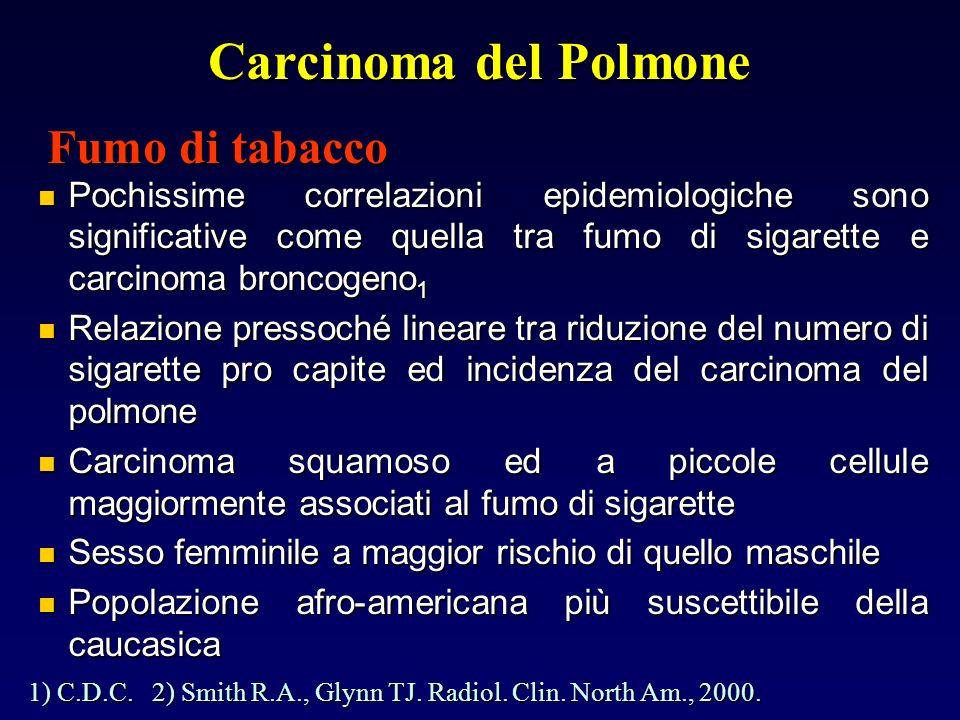 Carcinoma del Polmone Pochissime correlazioni epidemiologiche sono significative come quella tra fumo di sigarette e carcinoma broncogeno 1 Pochissime correlazioni epidemiologiche sono significative come quella tra fumo di sigarette e carcinoma broncogeno 1 Relazione pressoché lineare tra riduzione del numero di sigarette pro capite ed incidenza del carcinoma del polmone Relazione pressoché lineare tra riduzione del numero di sigarette pro capite ed incidenza del carcinoma del polmone Carcinoma squamoso ed a piccole cellule maggiormente associati al fumo di sigarette Carcinoma squamoso ed a piccole cellule maggiormente associati al fumo di sigarette Sesso femminile a maggior rischio di quello maschile Sesso femminile a maggior rischio di quello maschile Popolazione afro-americana più suscettibile della caucasica Popolazione afro-americana più suscettibile della caucasica 1) C.D.C.