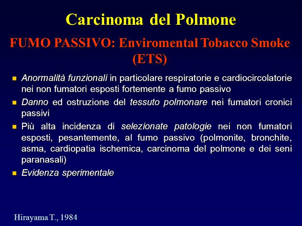 Carcinoma del Polmone Anormalità funzionali in particolare respiratorie e cardiocircolatorie nei non fumatori esposti fortemente a fumo passivo Anormalità funzionali in particolare respiratorie e cardiocircolatorie nei non fumatori esposti fortemente a fumo passivo Danno ed ostruzione del tessuto polmonare nei fumatori cronici passivi Danno ed ostruzione del tessuto polmonare nei fumatori cronici passivi Più alta incidenza di selezionate patologie nei non fumatori esposti, pesantemente, al fumo passivo (polmonite, bronchite, asma, cardiopatia ischemica, carcinoma del polmone e dei seni paranasali) Più alta incidenza di selezionate patologie nei non fumatori esposti, pesantemente, al fumo passivo (polmonite, bronchite, asma, cardiopatia ischemica, carcinoma del polmone e dei seni paranasali) Evidenza sperimentale Evidenza sperimentale FUMO PASSIVO: Enviromental Tobacco Smoke (ETS) Hirayama T., 1984