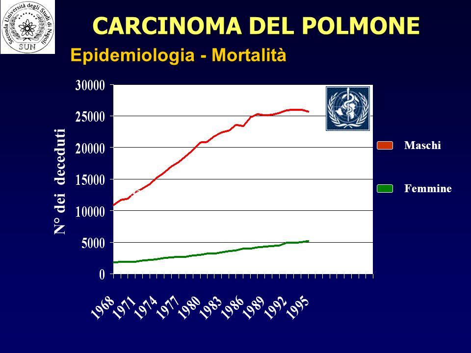 Maschi Femmine N° dei deceduti 25741 5168 1821 10933 CARCINOMA DEL POLMONE Epidemiologia - Mortalità