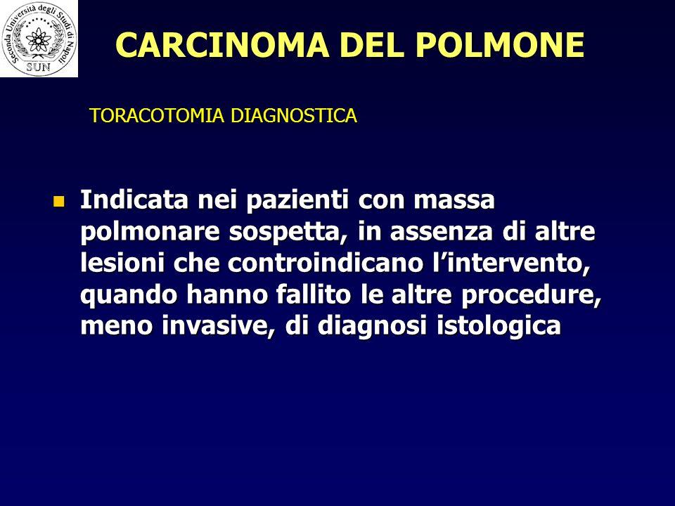 TORACOTOMIA DIAGNOSTICA Indicata nei pazienti con massa polmonare sospetta, in assenza di altre lesioni che controindicano lintervento, quando hanno fallito le altre procedure, meno invasive, di diagnosi istologica Indicata nei pazienti con massa polmonare sospetta, in assenza di altre lesioni che controindicano lintervento, quando hanno fallito le altre procedure, meno invasive, di diagnosi istologica CARCINOMA DEL POLMONE