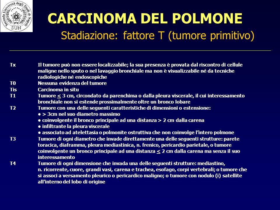 Stadiazione: fattore T (tumore primitivo) TxIl tumore può non essere localizzabile; la sua presenza è provata dal riscontro di cellule maligne nello sputo o nel lavaggio bronchiale ma non è visualizzabile né da tecniche radiologiche né endoscopiche T0Nessuna evidenza del tumore TisCarcinoma in situ T1Tumore < 3 cm, circondato da parenchima o dalla pleura viscerale, il cui interessamento bronchiale non si estende prossimalmente oltre un bronco lobare T2Tumore con una delle seguenti caratteristiche di dimensioni o estensione: > 3cm nel suo diametro massimo coinvolgente il bronco principale ad una distanza > 2 cm dalla carena infiltrante la pleura viscerale associato ad atelettasia o polmonite ostruttiva che non coinvolge lintero polmone T3Tumore di ogni diametro che invade direttamente una delle seguenti strutture: parete toracica, diaframma, pleura mediastinica, n.