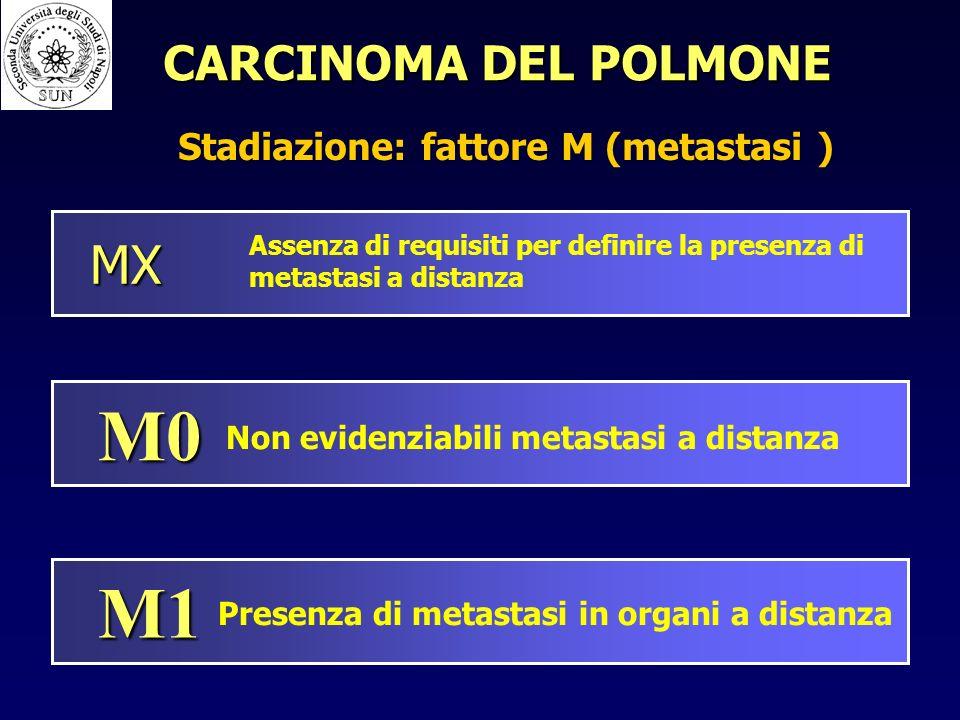 MX Assenza di requisiti per definire la presenza di metastasi a distanza M0 Non evidenziabili metastasi a distanza M1 Presenza di metastasi in organi a distanza Stadiazione: fattore M (metastasi ) CARCINOMA DEL POLMONE