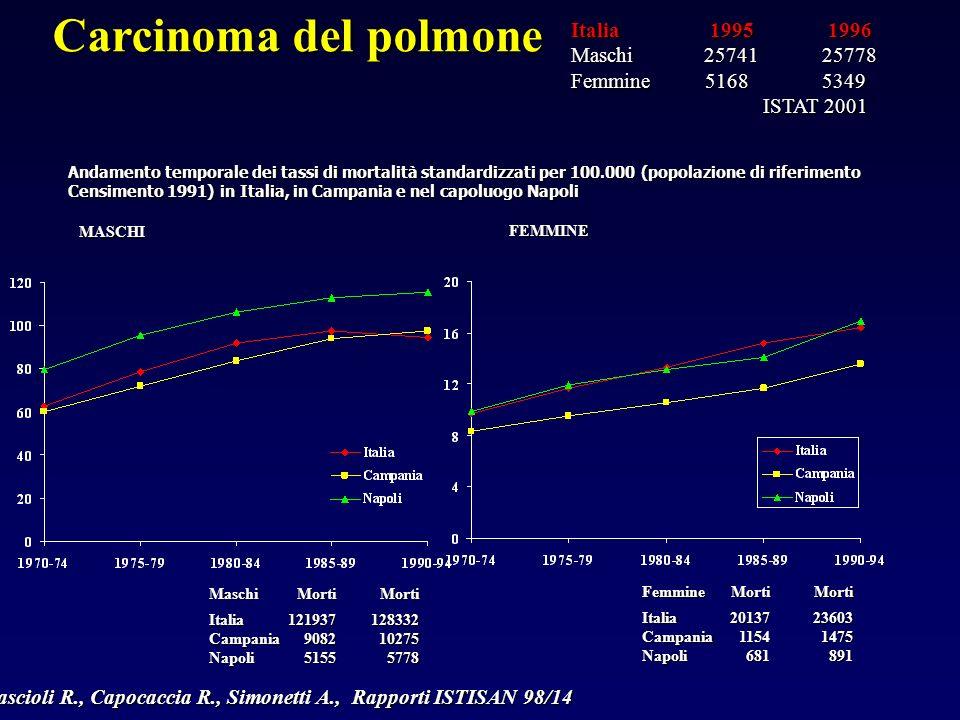 Andamento temporale dei tassi di mortalità standardizzati per 100.000 (popolazione di riferimento Censimento 1991) in Italia, in Campania e nel capoluogo Napoli Carcinoma del polmone MASCHI FEMMINE MaschiItaliaCampaniaNapoli Morti12193790825155Morti128332102755778 FemmineItaliaCampaniaNapoli Morti201371154681Morti236031475891 Cascioli R., Capocaccia R., Simonetti A., Rapporti ISTISAN 98/14 Italia 1995 1996 Maschi 25741 25778 Femmine 5168 5349 ISTAT 2001 ISTAT 2001