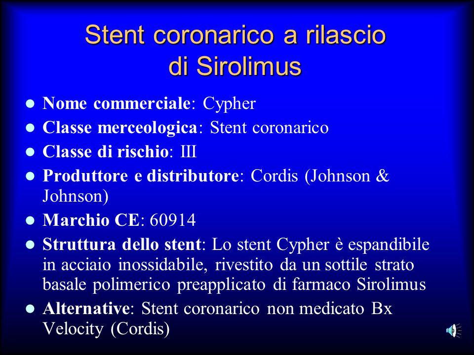 Stent coronarico a rilascio di Sirolimus Nome commerciale: Cypher Classe merceologica: Stent coronarico Classe di rischio: III Produttore e distributo