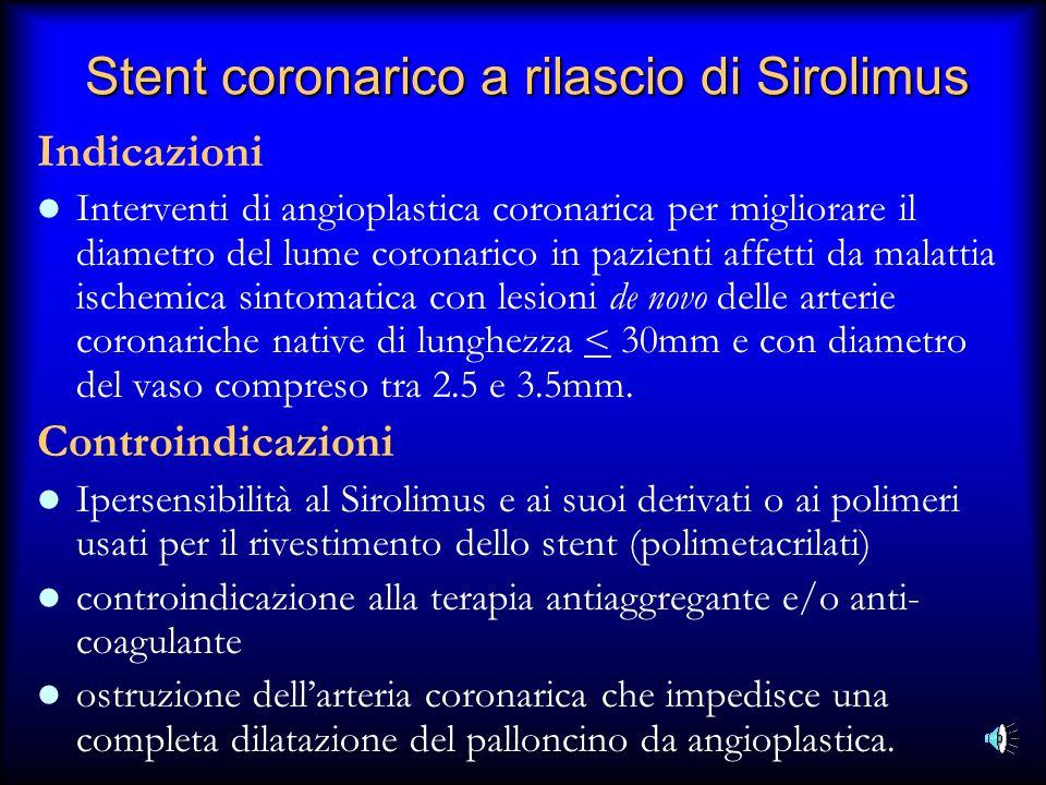 Stent coronarico a rilascio di Sirolimus Indicazioni Interventi di angioplastica coronarica per migliorare il diametro del lume coronarico in pazienti