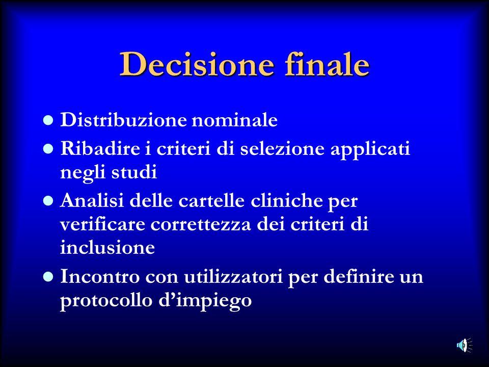 Decisione finale Distribuzione nominale Ribadire i criteri di selezione applicati negli studi Analisi delle cartelle cliniche per verificare correttez